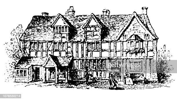 1769 年にシェークスピアーの生家 - 名作 発祥の地点のイラスト素材/クリップアート素材/マンガ素材/アイコン素材