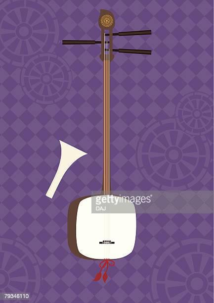 ilustrações de stock, clip art, desenhos animados e ícones de shamisen japanese guitar, painting, illustration, illustrative technique - vangen