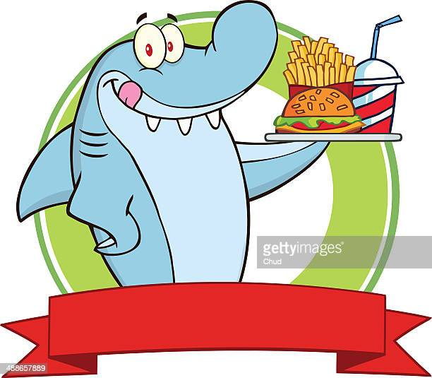 Shark Logo Holding A Plate Of Fast Food