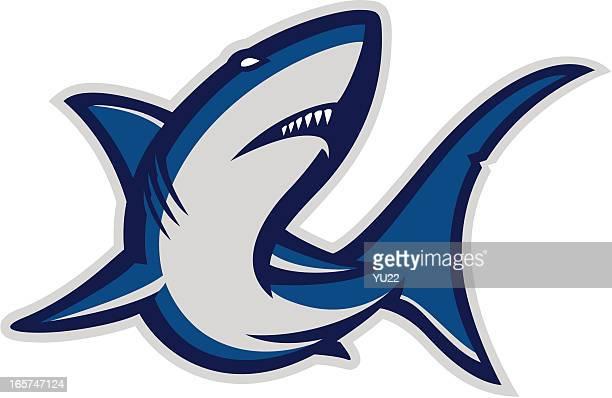 shark mascot - great white shark stock illustrations, clip art, cartoons, & icons