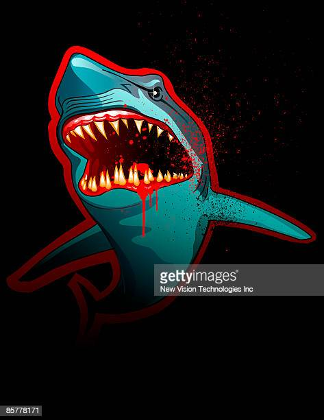 shark with bloody mouth - great white shark stock illustrations, clip art, cartoons, & icons