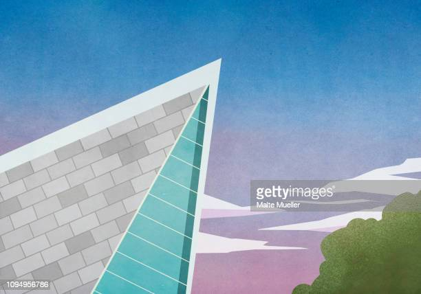sharp angle of modern house roof - low angle view stock illustrations