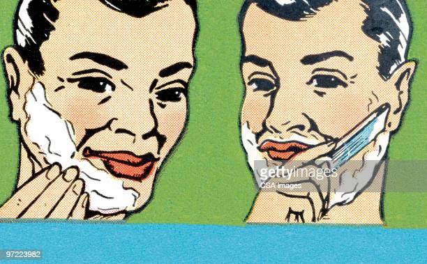 shaving steps - razor blade stock illustrations, clip art, cartoons, & icons