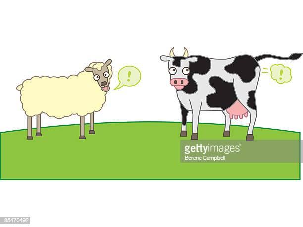 ilustraciones, imágenes clip art, dibujos animados e iconos de stock de sheep and cows producing methane gas - pedo