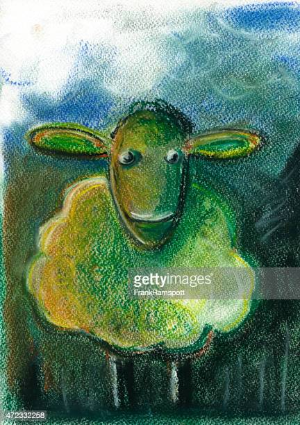 Sheep For Children Pastel Chalk Drawing