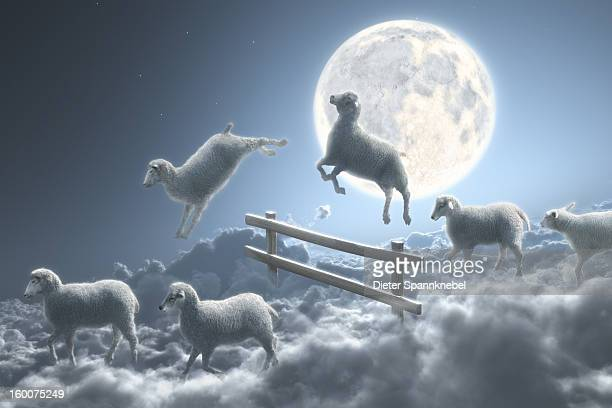 Sheep jumping over fence in a cloudy moon scene