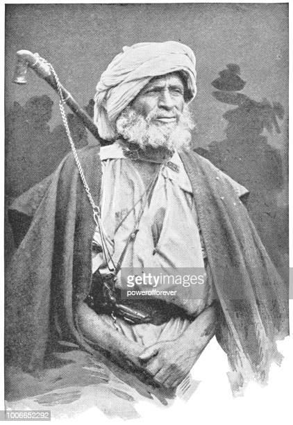 sheikh man in cairo, egypt - ottoman empire - north african ethnicity stock illustrations, clip art, cartoons, & icons