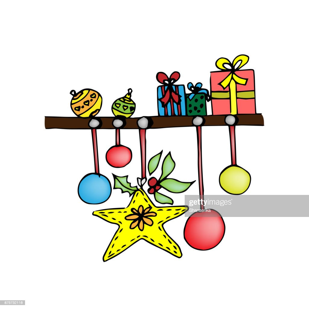 Shelf With Christmas Presents Colored Illustration On White Stock ...