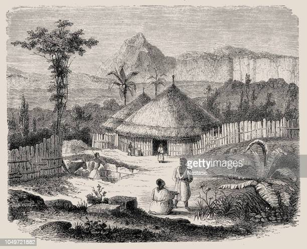 shewan people, east africa (antique wood engraving) - ethiopia stock illustrations, clip art, cartoons, & icons