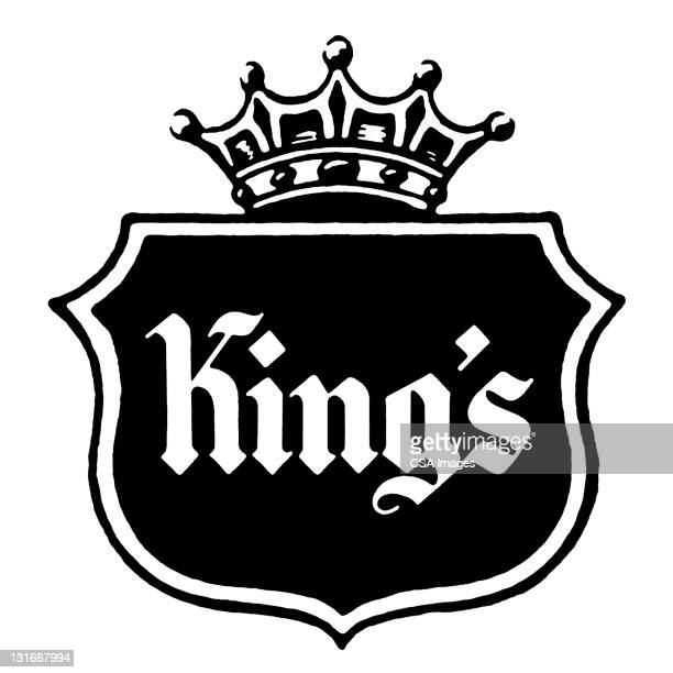 shield with crown and kings - ruler stock illustrations