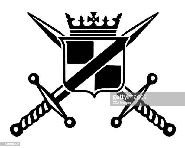 shield with two swords crossed - queen royal person stock illustrations