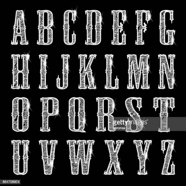stockillustraties, clipart, cartoons en iconen met glanzende zilveren letters op zwarte achtergrond - hoofdletter