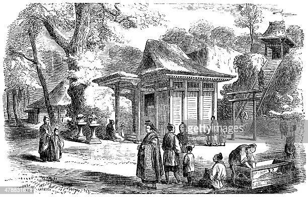 shinto shrine near yokohama, japan - shinto shrine stock illustrations