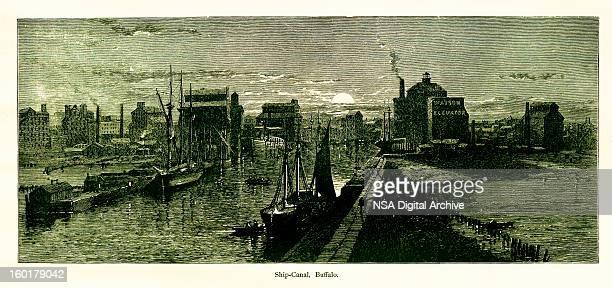 ship canal, buffalo, new york - lake erie stock illustrations, clip art, cartoons, & icons