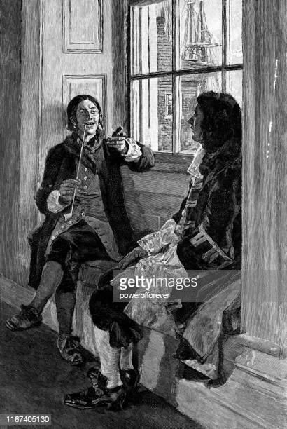 ship captains talking in new york city, new york, united states - 17th century - 1600s stock illustrations