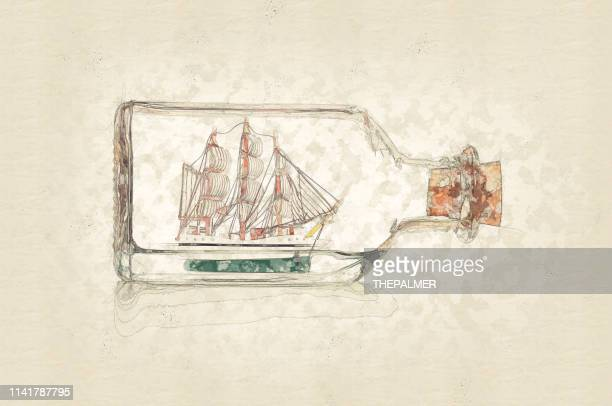 ship in a bottle - mixed digital technique - painting art product stock illustrations