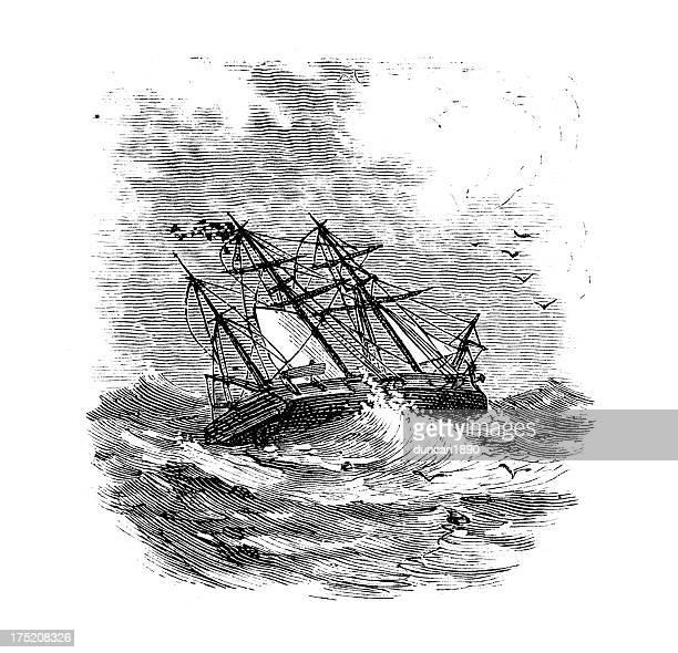 ilustrações, clipart, desenhos animados e ícones de navio em uma tempestade - tall ship