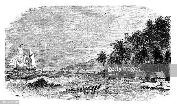 船のカリブ海