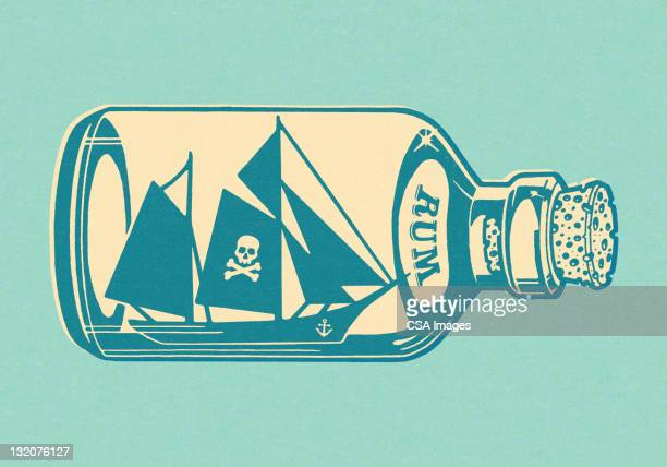 ship inside a bottle - rum stock illustrations, clip art, cartoons, & icons