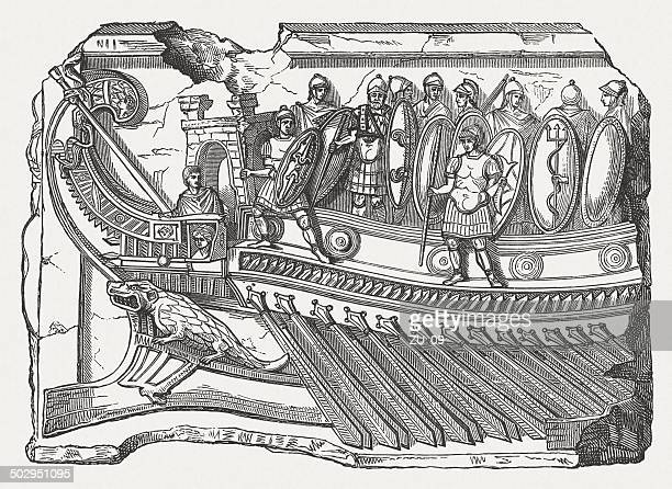 ship of mark antony in the battle of actium 31-bc - relief carving stock illustrations