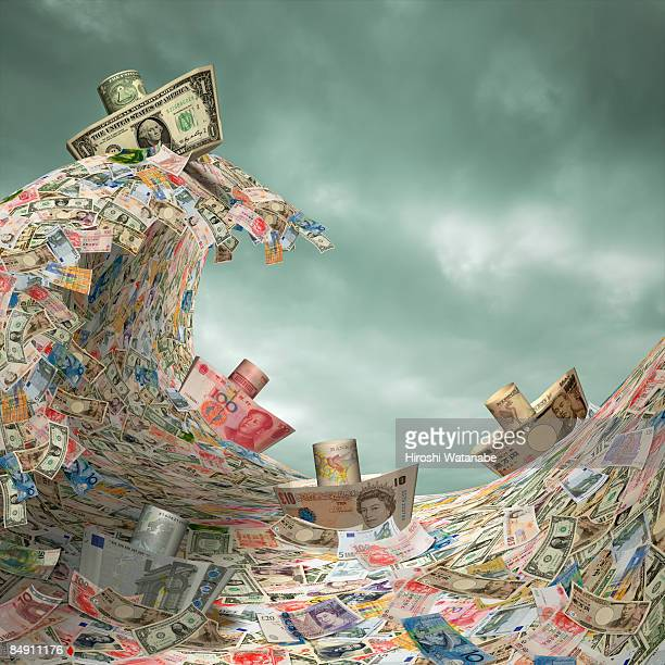 ship of paper currency get over big wave - nautical vessel stock illustrations