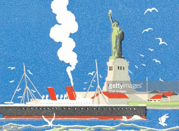ship passing statue of liberty - independence stock illustrations, clip art, cartoons, & icons