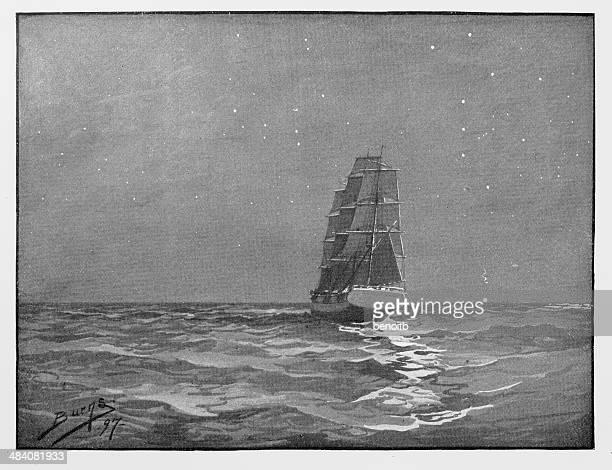 ship sailing at night - sail stock illustrations, clip art, cartoons, & icons