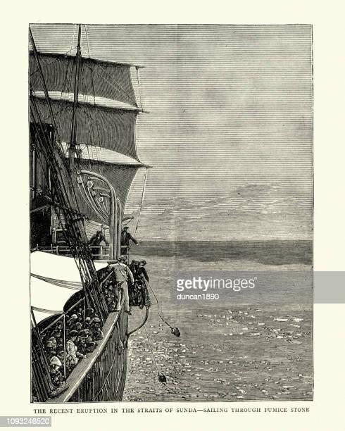 ship sailing through pumice stone in the sunda strait - erupting stock illustrations, clip art, cartoons, & icons