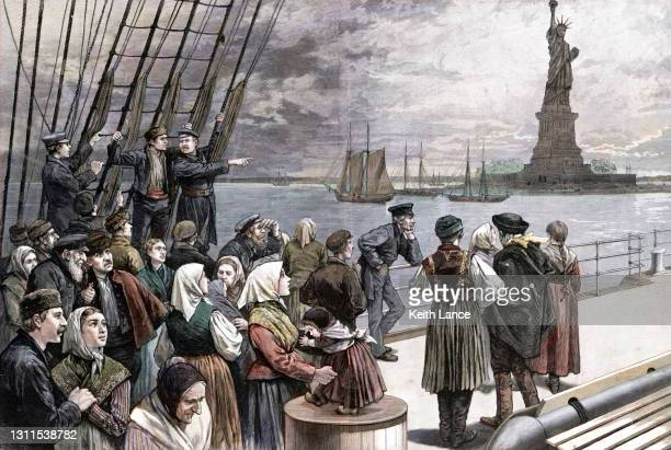 ship with immigrant passengers arriving in new york - the americas stock illustrations