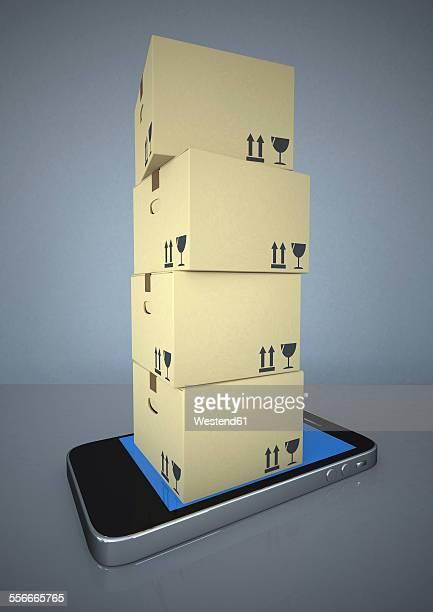illustrations, cliparts, dessins animés et icônes de shipping cartons on smartphone, 3d rendering - déménagement