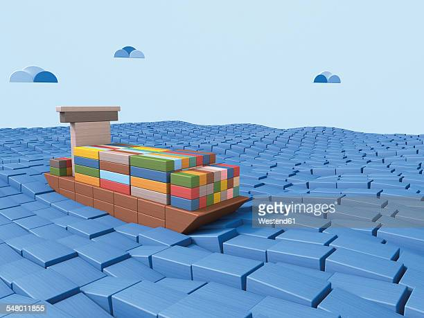 Shipping container ship made of building bricks, 3D Rendering