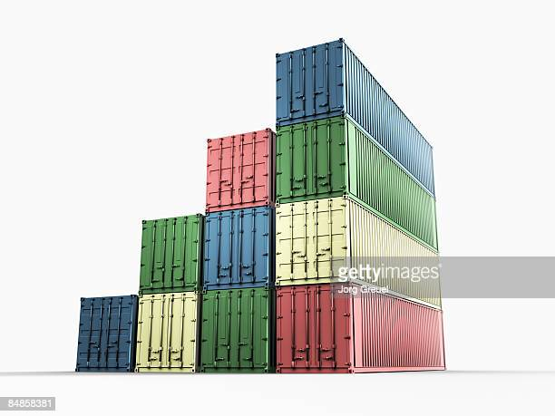 shipping containers - stack stock illustrations