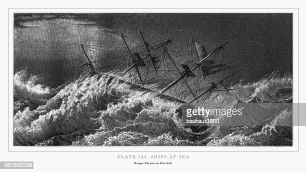 Ships at Sea Engraving, 1851