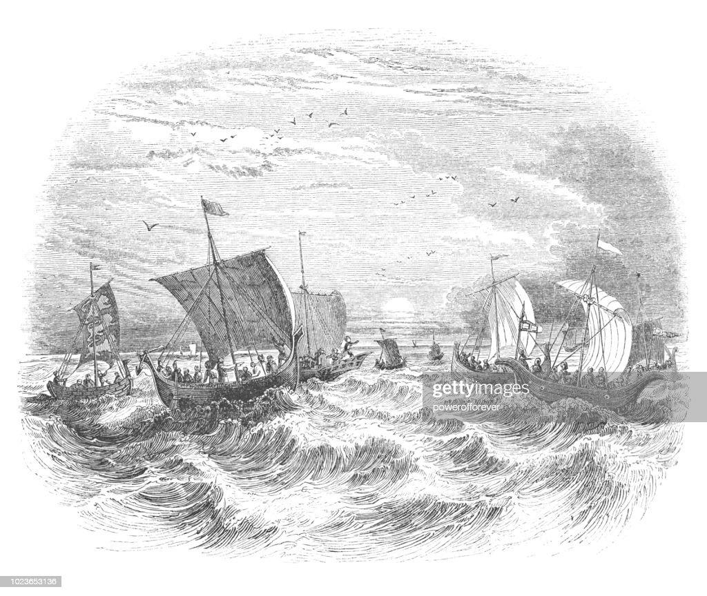 Ships at Sea : stock illustration