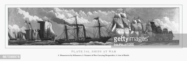 ships at war engraving, 1851 - warship stock illustrations