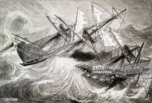 ships caught in a storm capsizing