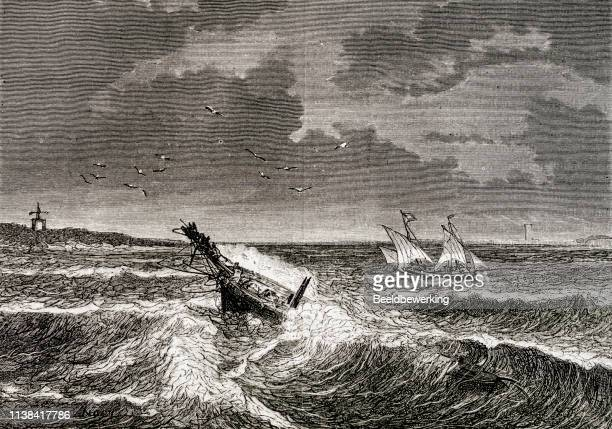 ships caught in a storm engravings