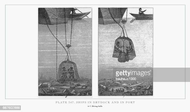 Ships in Drydock and in Port Engraving, 1851