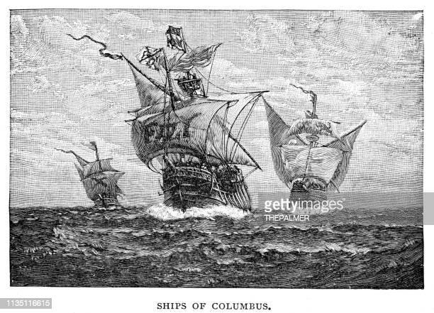 ilustraciones, imágenes clip art, dibujos animados e iconos de stock de naves de colón grabado 1895 - cristobal colon