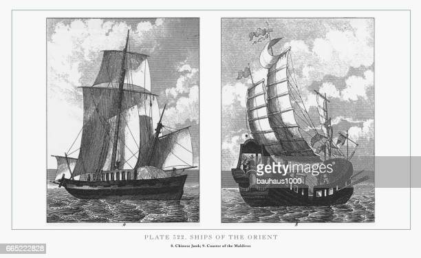 Ships of the Orient Engraving, 1851