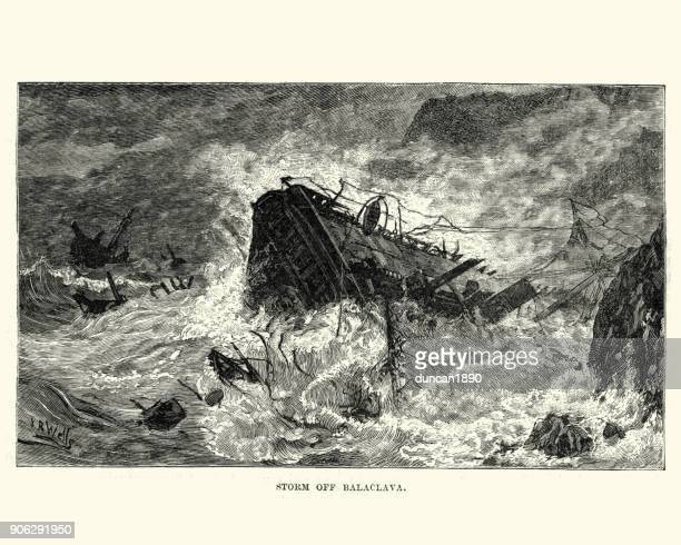 Ships wreaked in a storm of Balaclava