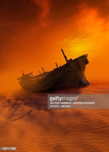 shipwreck in desert, illustration - the past stock illustrations