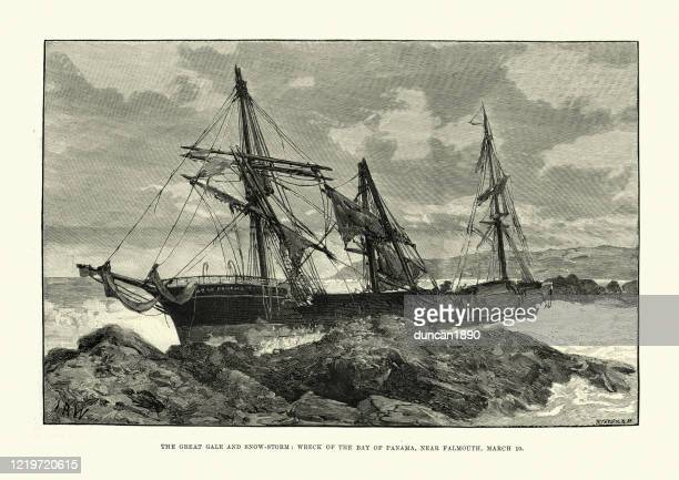 shipwreck on the rocks near falmouth, after a storm, 1891 - ship wreck stock illustrations