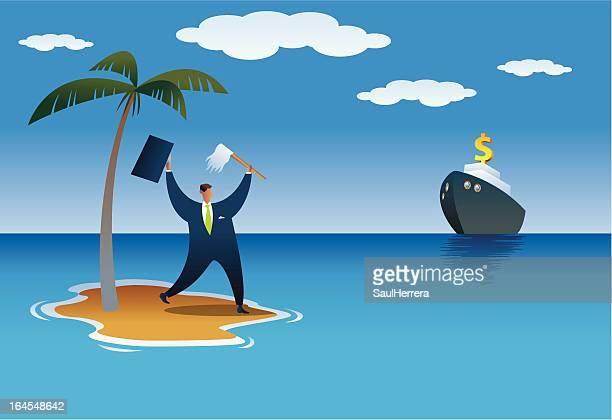 shipwrecked businessman - relief emotion stock illustrations, clip art, cartoons, & icons
