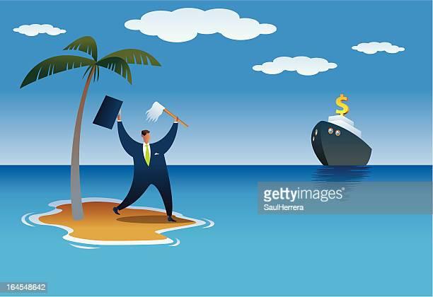 ilustrações, clipart, desenhos animados e ícones de shipwrecked empresário - relief emotion
