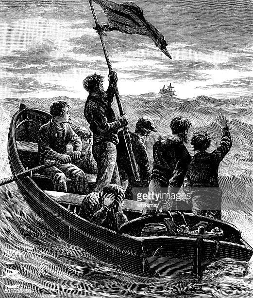 shipwrecked sailors in a rowing boat in rough seas - rough stock illustrations, clip art, cartoons, & icons