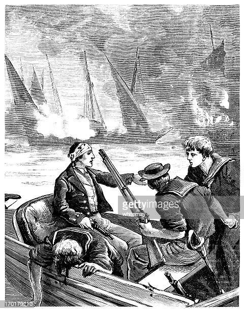 shipwrecked sailors in a small boat after a sea battle - military uniform stock illustrations