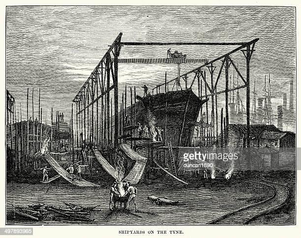 shipyards on the tyne - northeastern england stock illustrations, clip art, cartoons, & icons