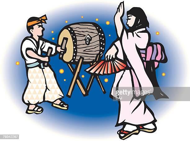 Shiraishi Dance, Woodcut, Okayama Prefecture, Japan