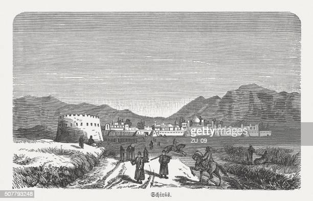 shiraz, iran, wood engraving, published in 1882 - shiraz stock illustrations